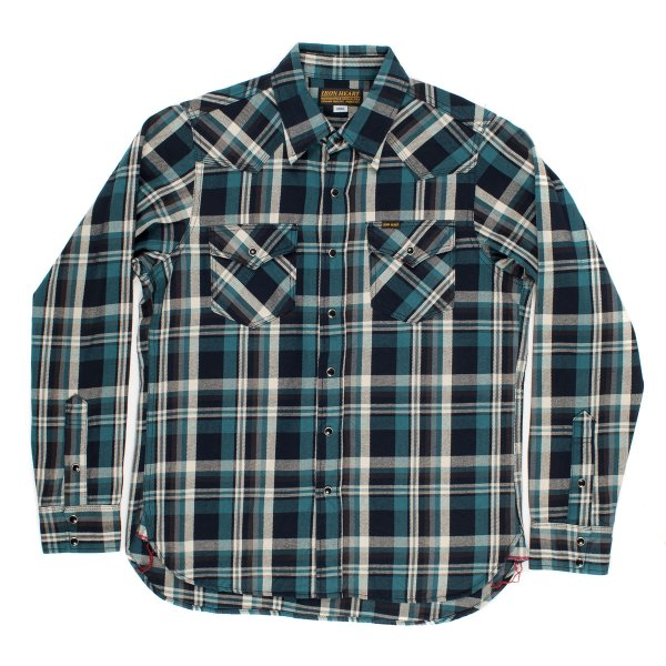 Blue or Green Indigo Dyed Check 10oz Selvedge Flannel Western