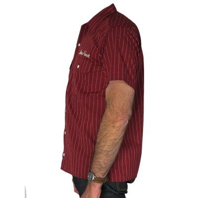 Stripy Short Sleeved Work Shirts - Black, Burgundy & Blue