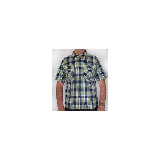 TW - Light Weight Cotton Short Sleeved Work Shirt - Blue & Green