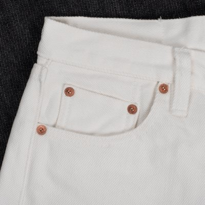 21oz Selvedge Denim Straight Cut Jeans - White