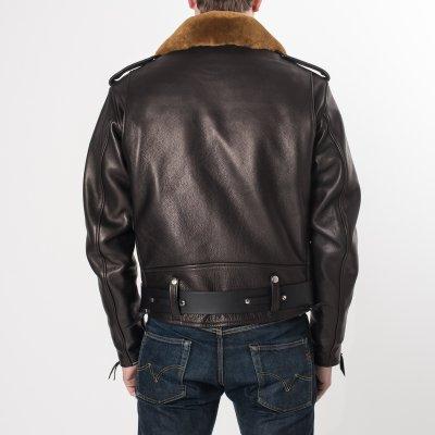 """Black Cowhide """"One Star"""" Jacket"""
