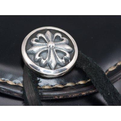 Folding Shell Cordovan Coin Holder w/silver Concho - Black & Oxblood