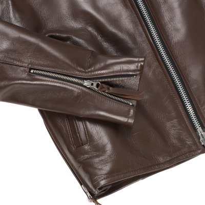 Brown Japanese Horsehide Rider's Jacket With Collar