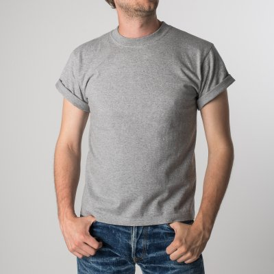 Plain Grey Iron Heart 7.5oz Loopwheel T-Shirts