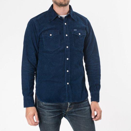 Indigo Corduroy Single Yoke Western Shirt