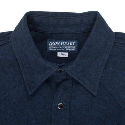 Navy Cotton Herringbone Western Shirt