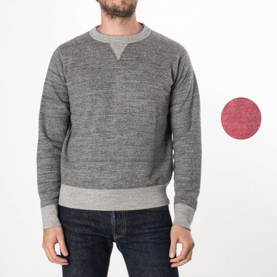 Heavy oopwheel Fleece Lined Sweater - Grey & Red Marl