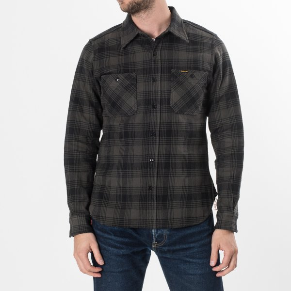 Grey/Black Ultra Heavy Flannel Glen Check Work Shirt