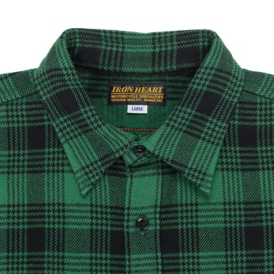 Green/Black Ultra Heavy Flannel Glen Check Work Shirt