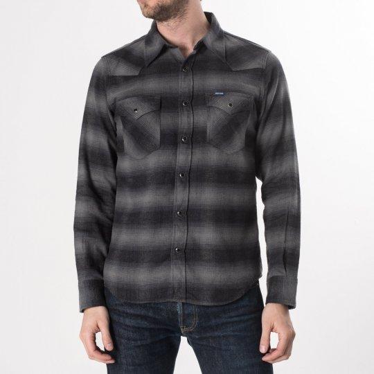 Grey/Black 6oz Check Flannel Western Shirt