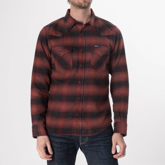 Red/Black 6oz Ombré Flannel Western Shirt