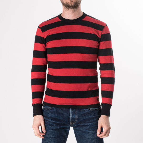 Red/Black 11oz Knitted Cotton Long Sleeved Sweater with Padded Elbows