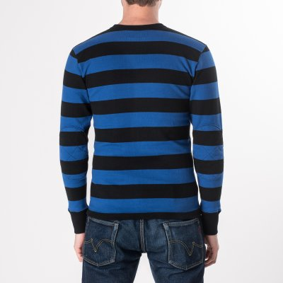 Blue/Black 11oz Knitted Cotton Long Sleeved Sweater with Padded Elbows
