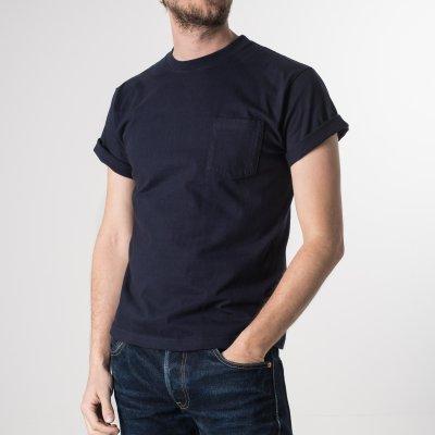 Navy 7.5oz Plain Crew Neck Loopwheeled Pocket T-Shirts