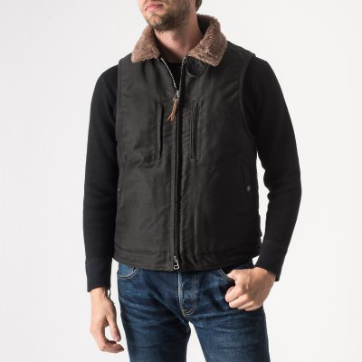 Black Alpaca Lined Whipcord Modified N1 Deck Vest