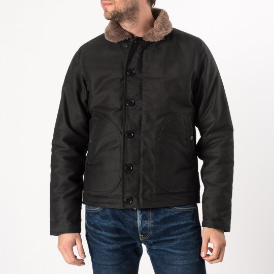 Alpaca Lined Whipcord N1 Deck Jacket - Black