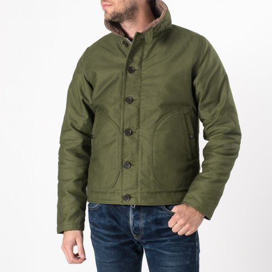 Alpaca Lined Whipcord N1 Deck Jacket - Olive
