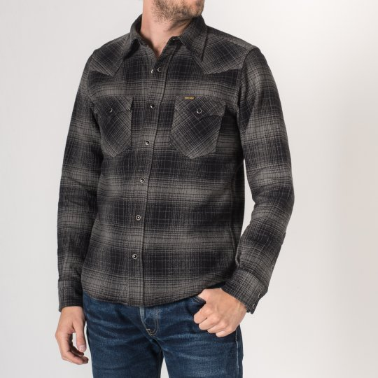 Grey/Black Ultra Heavy Flannel Ombré Check Western Shirt