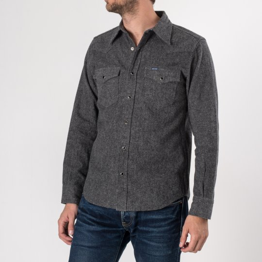 Charcoal Cotton Herringbone Western Shirt