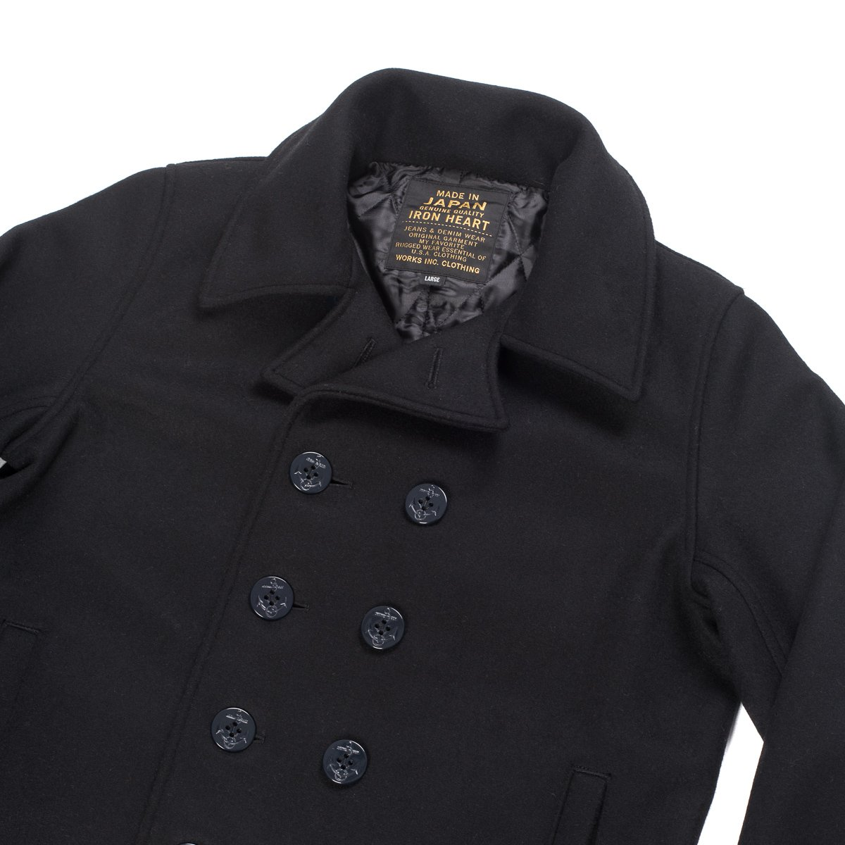 diversified in packaging special discount of luxury fashion Melton Wool Pea Coat - Black