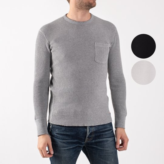 Long Sleeved Thermal Crew Neck with Chest Pocket - Black, Grey & White