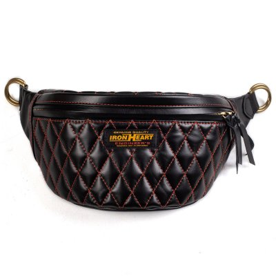 Diamond Stitched Leather Waist Bag Red/Black