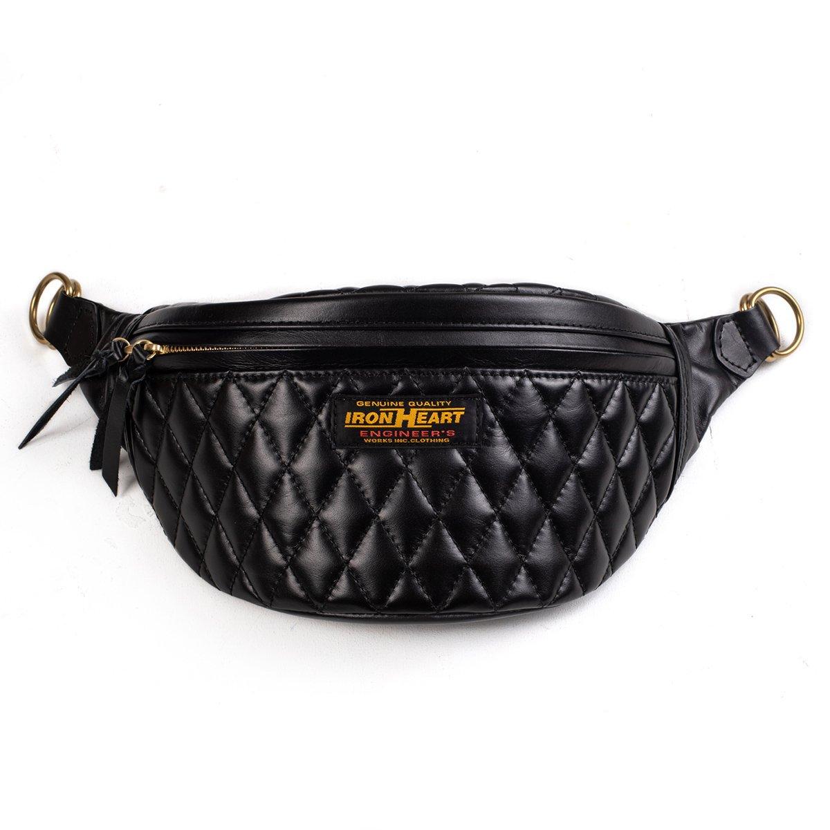 Diamond Sched Leather Waist Bag Black
