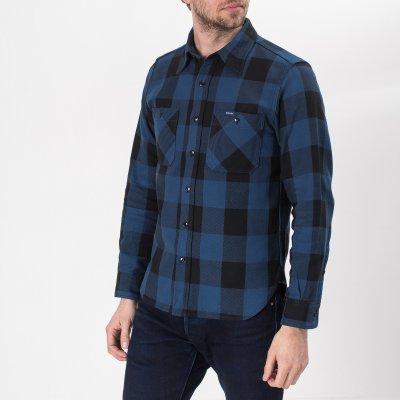 10oz Indigo Check Flannel Work Shirt