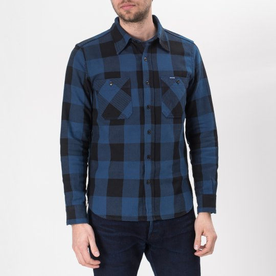 10oz Indigo Check Flannel Work Shirt