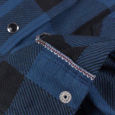 10oz Indigo Check Flannel Western Shirt