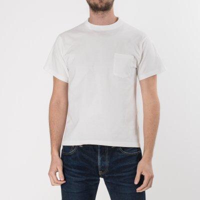 White 7.5oz Plain Crew Neck Loopwheeled Pocket T-Shirts