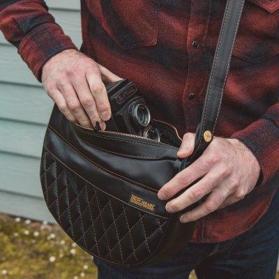 Black Leather Diamond Brown Stitched Shoulder Bag