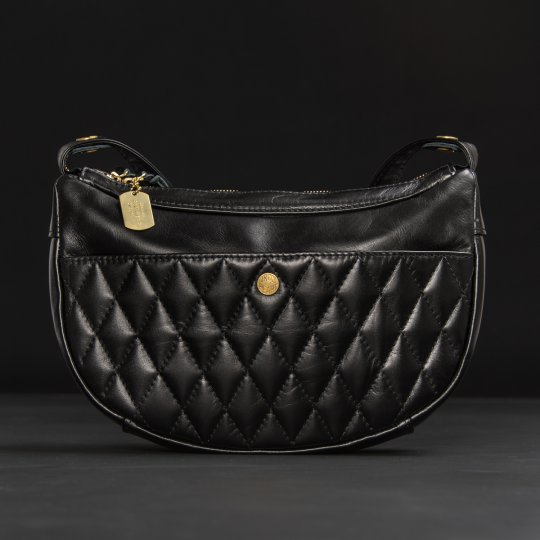 Black Leather Diamond Tonal Stitched Shoulder Bag