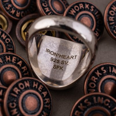Iron Heart Sterling Silver Button Ring