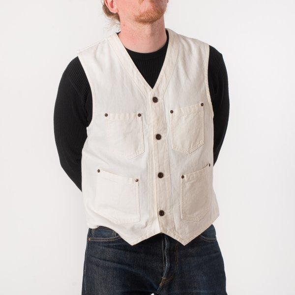 White Herringbone Work Vest