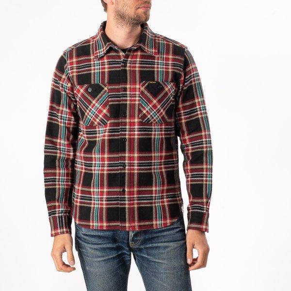 Black Crazy Check Ultra Heavy Flannel Work Shirt
