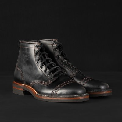 "The Bootery/Wesco® - 7"" Black Tie Domain Toe Cap Boot"