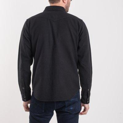 Black Ultra Heavy Flannel Plain Herringbone Western Shirt