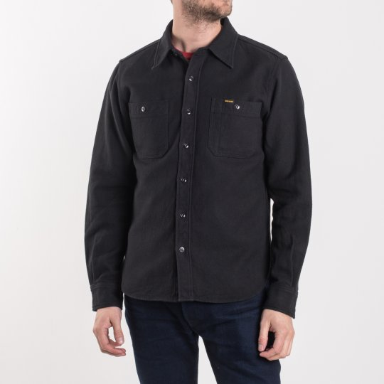 Black Ultra Heavy Flannel Plain Herringbone Work Shirt