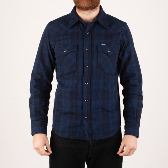 9oz Unbrushed Blue/Black Cotton Flannel Western Shirt