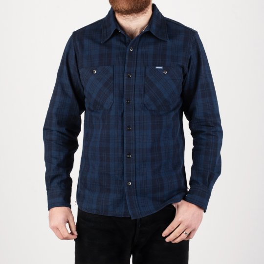 9oz Unbrushed Blue/Black Cotton Flannel Work Shirt