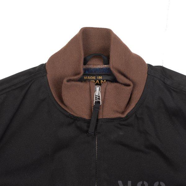 Blanket Lined Chino Cloth Printed Black Tanker Jacket