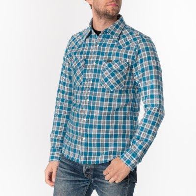 Ultra Heavy Flannel Tartan Check Western Shirt - Blue