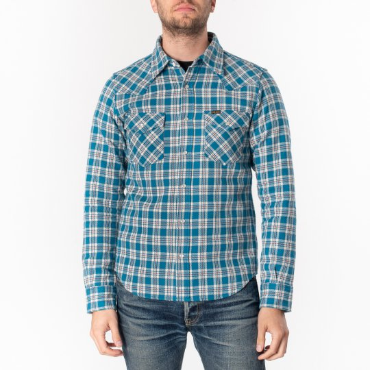 Ultra Heavy Flannel Tartan Check Western Shirt - Blue