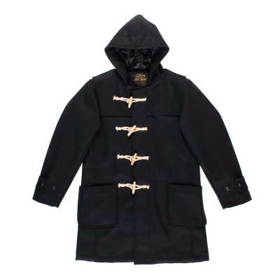 Water Repellent Melton Wool Duffle Coat - Black