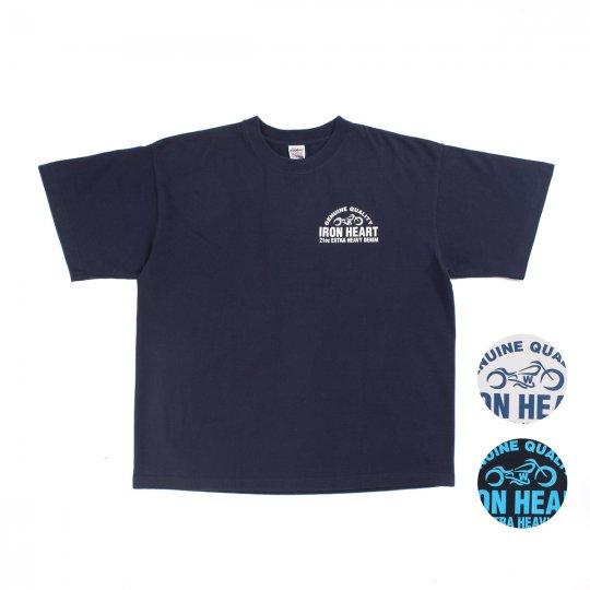 7.5oz Printed Loopwheel '21oz Extra Heavy Denim' Print Crew Neck T-Shirt - Navy, Black or White