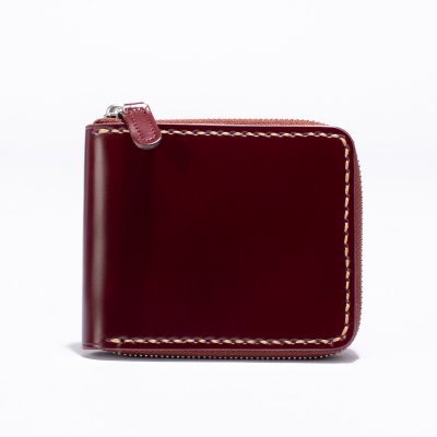 Zip-Secured Shell Cordovan Wallet - Black or Oxblood