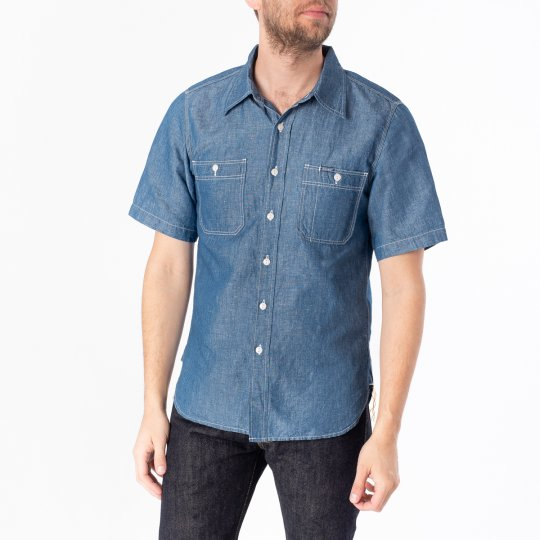 5oz Selvedge Cotton Linen Chambray Short-Sleeved Work Shirt - Indigo