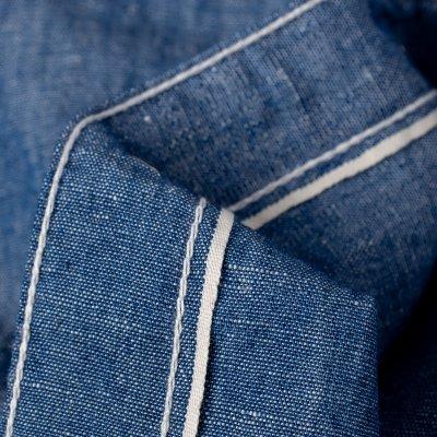 5oz Selvedge Cotton Linen Chambray Short-Sleeved Work Shirt - Indigo