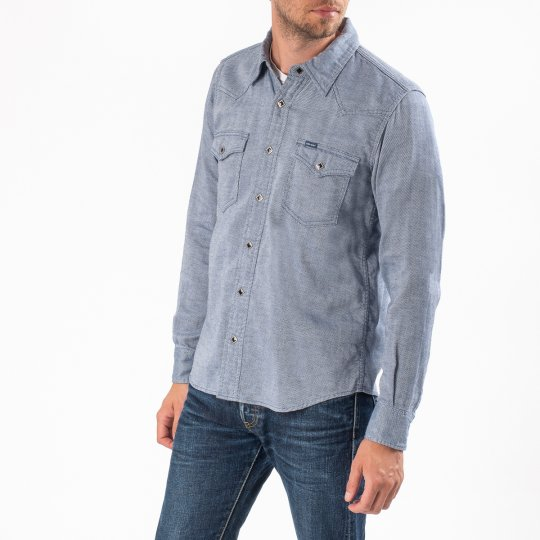 5oz Indigo Cotton Linen Western Shirt